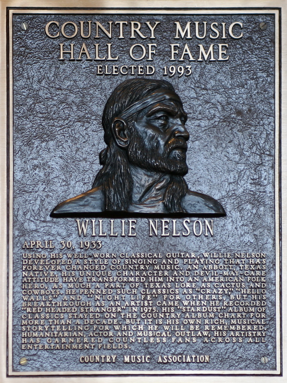 Willie Nelson Country Music Hall of Fame