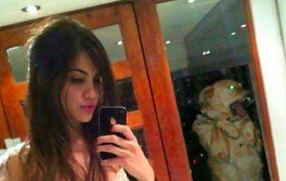 selfie- dog photobomb